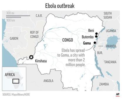 Ebola map DRC